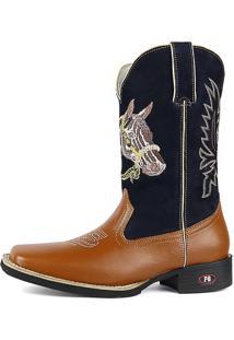 Bota Country Texana Sapatofran Bico Quadrado Cara De Cavalo Azul-Marinho