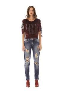 Calca Comfort Dani Cos Baixo Reserva Lateral Jeans
