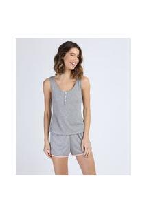 Pijama Regata Feminino Com Viés Contrastante Cinza Mescla