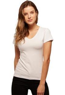 Camiseta Basicamente Babylook Gola V Feminina - Feminino-Branco