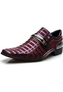 Sapato Social Calvest Couro Detalhado Em Verniz Bordô