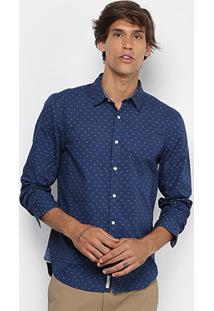 Camisa Jab Slim Fit Mini Print Masculina - Masculino-Azul