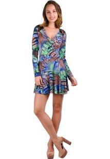 742c5be03 ... Vestido Banna Hanna Com Renda Estampado Marrom/Azul/Verde -  Feminino-Marrom+