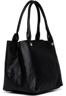 Bolsa Nice Bag Ombro Animal Print Cobra Moderna Feminina - Feminino-Preto