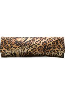 Giuseppe Zanotti Leopard-Print Satin Clutch - Marrom