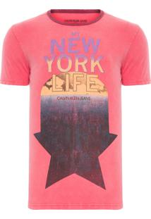 Camiseta Masculina Gola Contraste - Vermelho