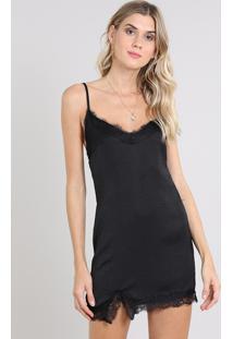 Vestido Slip Dress Feminino Curto Com Renda Alça Fina Preto