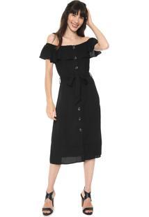 Vestido Facinelli By Mooncity Midi Ombro A Ombro Preto