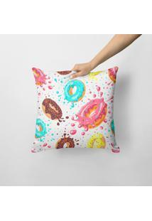 Capa De Almofada Avulsa Decorativa Donuts 45X45Cm