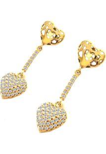 Brinco Prata Mil Coração De Ouro C/ Zircônia Ouro - Kanui