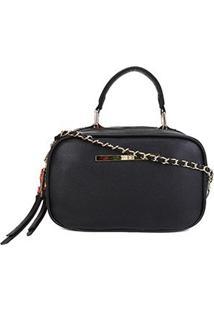 Bolsa Santa Lolla Caviar Mini Bag Feminina - Feminino-Preto