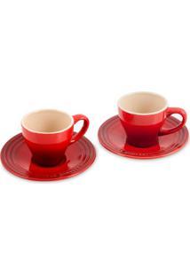 Conj 2 Xícaras Espresso Com Pires Vermelho Le Creuset