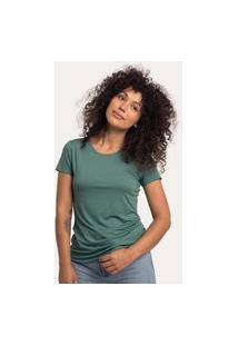 Camiseta Decote Redondo Em Modal Verde Terrário