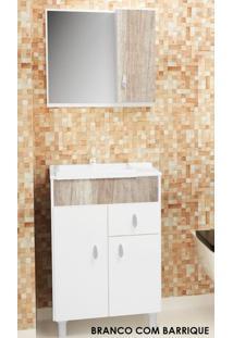 Gabinete Para Banheiro Kit Tuon - Balcão + Espelheira + Marmorite - Branco Com Barrique