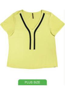 Blusa Plus Size Com Decote V Verde