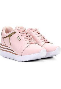 Tênis Kolosh Sneaker Anabela Zíper Lateral Feminina - Feminino-Rosa Claro