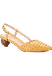Scarpin Couro Shoestock Slingback Salto Bola