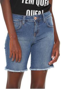 Bermuda Jeans Coca-Cola Jeans Reta Desfiada Azul
