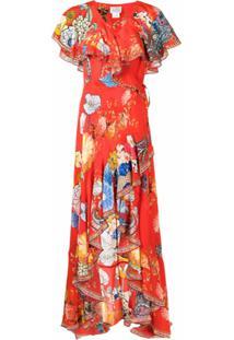 Camilla Vestido Longo Com Babados E Estampa Floral - Vermelho