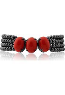 Pulseira Rincawesky Pedras Resina Vermelho