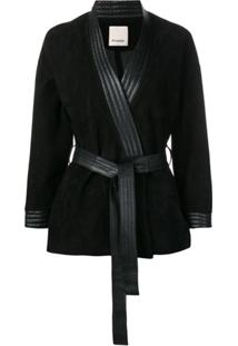 Pinko Belted Leather Jacket - Preto