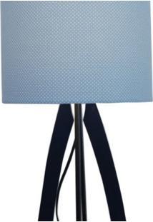 Luminária De Mesa Abajur Poá Crie Casa Azul E Branco