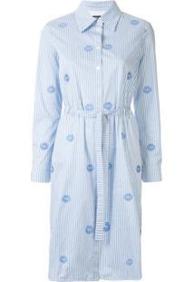 Markus Lupfer Camisa Mangas Longas De Algodão Azul Com Listras
