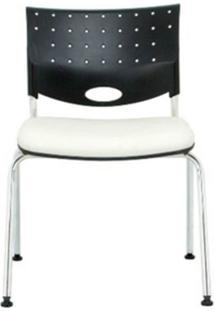 Cadeira Rombo Cromada Encosto Preto Assento Branco - 30373 - Sun House