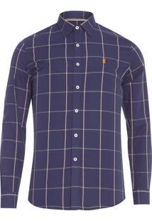 Camisa Masculina Quadros Ocre - Azul