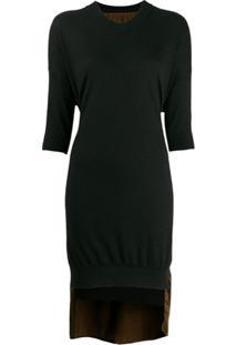 Uma Wang Vestido Com Contraste - Preto