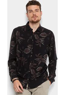 f5d770f56fddb Camisa Colcci Estampada Masculina - Masculino-Preto+Marrom