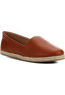 Sapatilha Shoestock Flat Corda Couro - Feminino-Caramelo