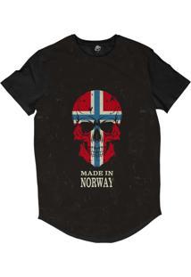 Camiseta Longline Bsc Caveira País Noruega Sublimada Preto