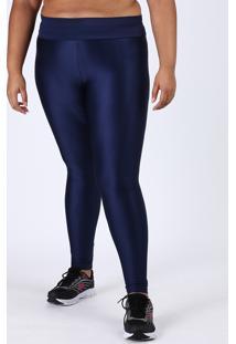 Calça Legging Feminina Plus Size Esportiva Ace Cintura Alta Texturizada Azul Marinho