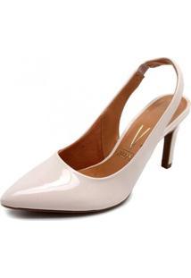 Scarpin Chanel Vizzano Verniz Feminino - Feminino-Off White