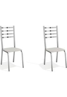 Conjunto Com 2 Cadeiras De Cozinha Alemanha Cromado E Branco