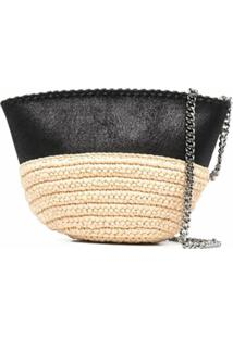 Stella Mccartney Mini Falabella Raffia Shoulder Bag - Preto