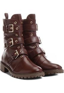 Bota Couro Coturno Shoestock Fivelas Feminina - Feminino