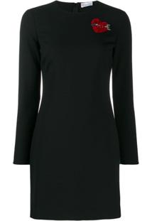 Redvalentino Heart Motif Fitted Dress - Preto