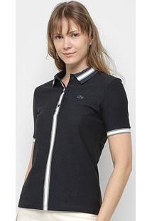 Camisa Polo Lacoste Listra Bicolor Manga Curta Feminina - Feminino-Marinho