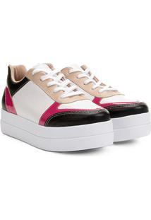 Tênis Bebecê Flatform Com Recortes Feminino - Feminino-Branco+Pink