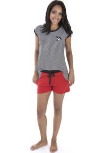 Pijama Curto Inspirate Pérolas Feminino - Feminino-Vermelho Claro+Preto