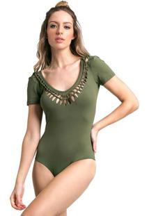 Body Liso Com Recortes Vazados - Verde Militar - Vesvestem