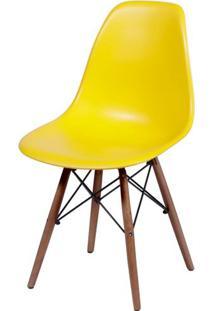 Cadeira Eames Polipropileno Amarelo Base Escura - 44832 - Sun House