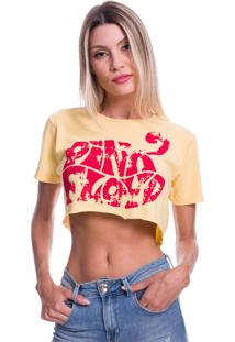 Camiseta Cropped Jazz Brasil Pink Floyd Amarela - Kanui