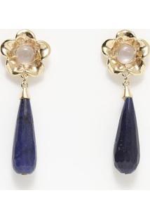 Par De Brincos Floral Com Quartzo - Dourado & Azul Marinfabrizio Gianonne