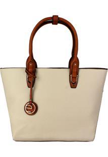 Bolsa Tote / Shopper Clássico, Bicolor, Marfim - Le Postiche