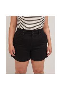 Short Mom Em Sarja Com Pregas E Detalhe No Cós Curve & Plus Size