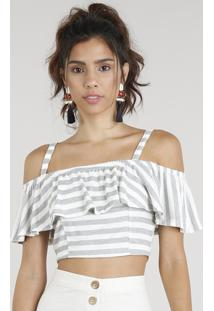 Blusa Feminina Cropped Open Shoulder Listrada Com Babado Manga Curta Off White