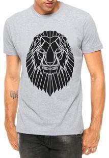 Camiseta Criativa Urbana Leão Tatoo Tribal Manga Curta - Masculino-Cinza
